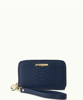 GiGi New York Wristlet Phone Wallet Navy Embossed Python