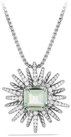 David Yurman 30mm Starburst Diamond & Prasiolite Pendant Necklace