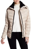 GUESS Faux Fur & Faux Leather Trim Padded Down Jacket