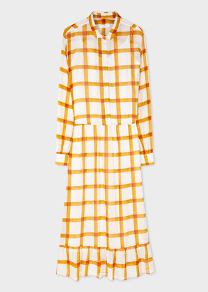 Paul Smith Women's Mustard And White Check Georgette Midi Tent Dress