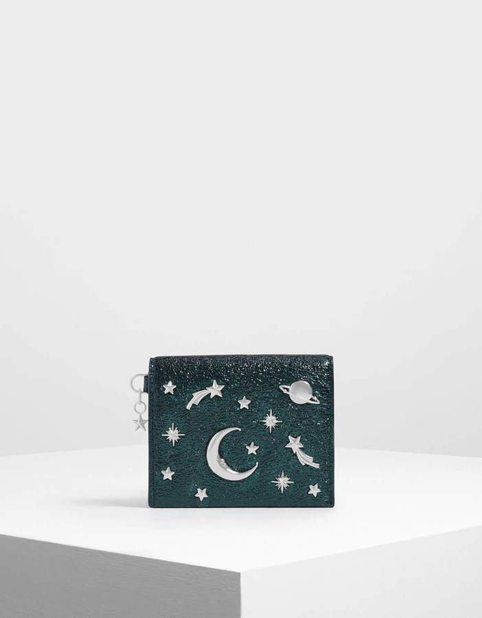 Charles & Keith Snap Button Galaxy Embellished Metallic Card Holder