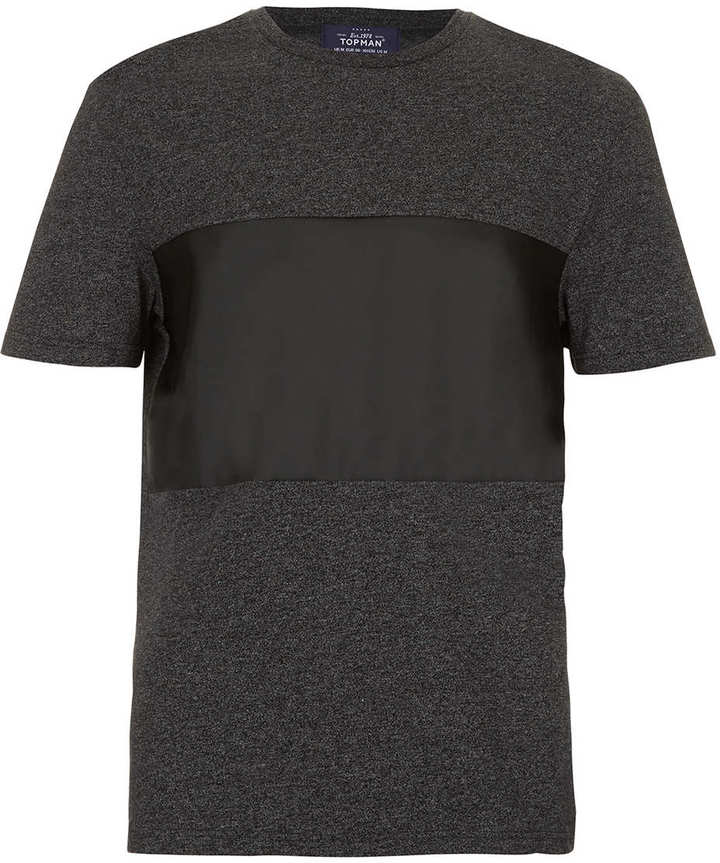 Topman Grey Leather Look Panel T-Shirt