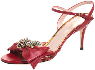 Gucci Red Leather Queen Margaret Bow Ankle Strap Sandals Size 37