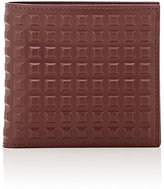 Balenciaga Men's Grid-Embossed Wallet-BURGUNDY