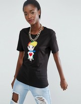 Love Moschino Embroidered Fabric Girl T-Shirt