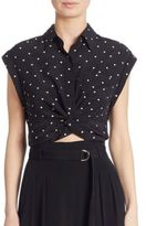 Alexander Wang Knotted Cropped Silk Shirt