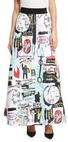 Alice + Olivia Meryl Graffiti-Print Maxi Skirt