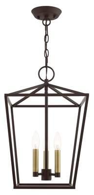 Kampyli 3-Light Lantern Geometric Pendant Wrought Studio