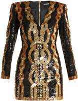 Balmain V-neck sequin-embellished mini dress