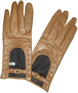 Miu Miu Camel Leather Gloves