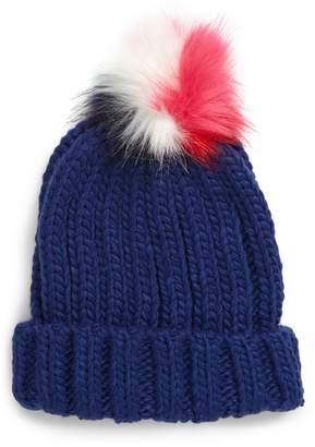 Boden Mini Faux Fur Pompom Chunky Knit Hat