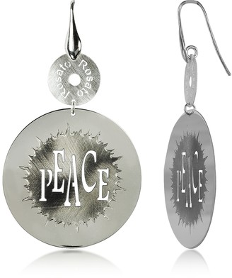 Rosato Sterling Silver Peace Cut-Out Round Earrings