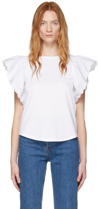 See by Chloe White Frill Sleeve T-Shirt
