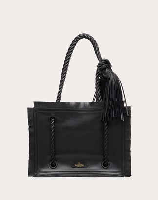 Valentino Small The Rope Calfskin Shopper Women Black 100% Pelle Di Vitello - Bos Taurus OneSize
