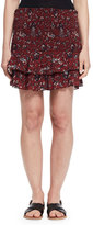 Etoile Isabel Marant Afos Floral Tiered Flounce Skirt, Burgundy/Gray
