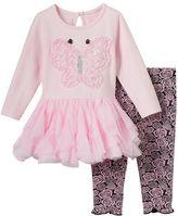 Nannette Baby Girl Butterfly Dress & Jacquard Leggings Set