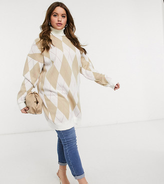In The Style Plus x Olivia Bowen high neck oversized knitted jumper in cream cross print