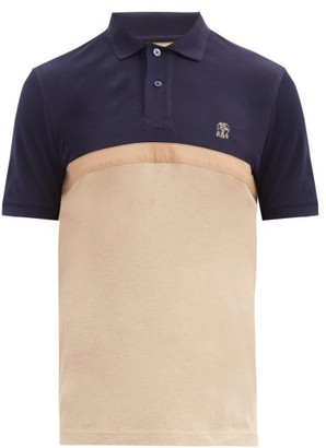 Brunello Cucinelli Colour-blocked Cotton-pique Polo Shirt - Brown Multi