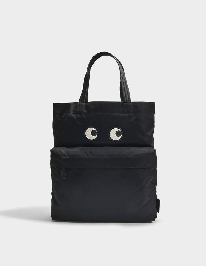 Anya Hindmarch Eyes Tote Bag in Black Nylon