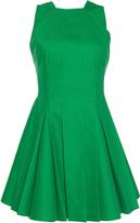 Paule Ka Bonded Cotton Sleeveless Pleated Flared Halter Dress