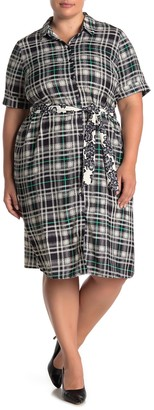 ELOQUII Plaid Tie Waist Shirt Dress (Plus Size)