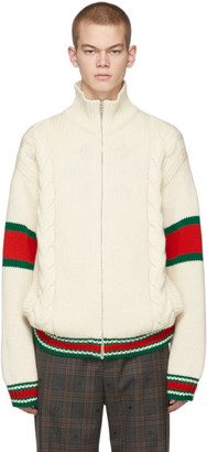 Gucci Off-White Cable Knit Jacket