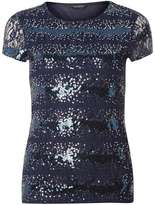 Midnight Blue Sequin Lace T-Shirt