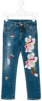 Pamilla Kids - floral appliquéd jeans - kids - Cotton/Spandex/Elastane - 4 yrs