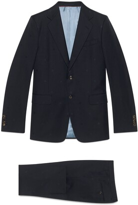 Gucci Straight fit bee wool gabardine suit