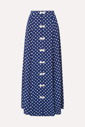 Rebecca De Ravenel Lolita Polka-dot Silk-crepe Maxi Skirt - Blue