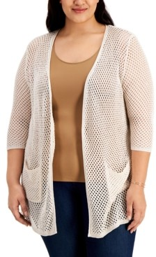 Belldini Plus Size Open-Knit Sparkle Cardigan