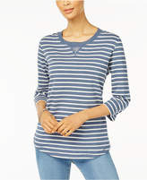 Karen Scott Petite Embellished Striped Top, Created for Macy's