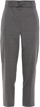 Brunello Cucinelli Cropped Belted Wool-blend Tapered Pants