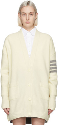 Thom Browne Off-White Cashmere Exaggerated Fit 4-Bar Cardigan