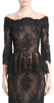 Marchesa Beaded Lace Off the Shoulder Peplum Top