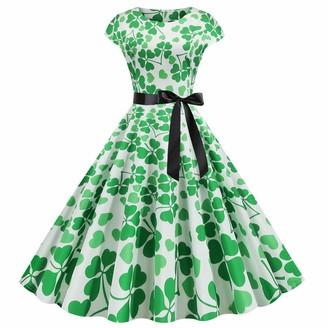 QUINTRA Women St.Patrick's Day Retro O-Neck Printed Short-Sleeve Big Swing Dress A-Linie Swing Kleid Dress(B Orange L)
