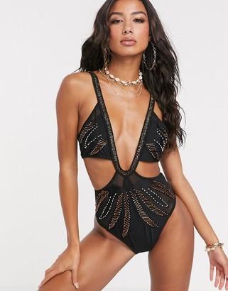 Asos Design DESIGN palm embellished mesh swimsuit in black-Multi