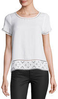 Joie Kadence Lace-Trim Short-Sleeve Top, White