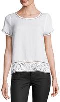 Joie Kadence Lace-Trim Short-Sleeve Top, White