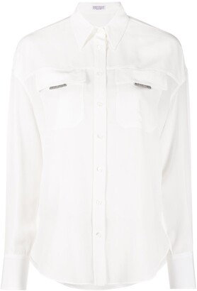 Brunello Cucinelli Monili chain flap pocket shirt