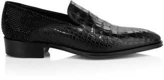 Giuseppe Zanotti Embellished Croc-Embossed Leather Dress Shoes
