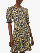 Warehouse Floral Shirred Mini Dress, Yellow/Multi
