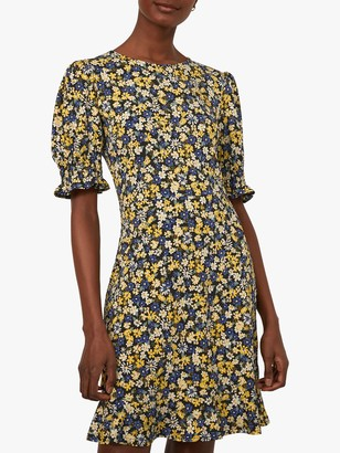Warehouse Floral Shirred Mini Dress, Yellow/Multi