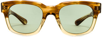 Oliver Peoples Shiller Sunglasses in Honey & Green Wash | FWRD