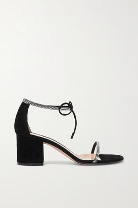 Gianvito Rossi 60 Crystal-embellished Suede Sandals - Black