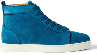 Christian Louboutin Louis Orlato Grosgrain-Trimmed Suede High-Top Sneakers