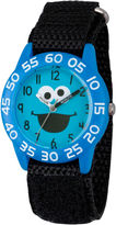 Sesame Street Boys Blue And Black Cookie Monster Time Teacher Strap Watch W003148