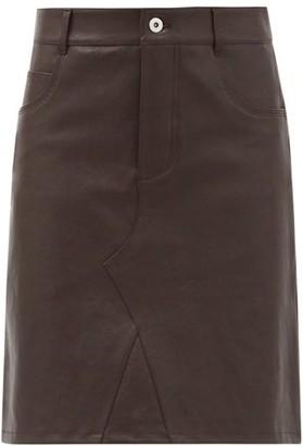 Bottega Veneta Leather Midi Skirt - Dark Brown