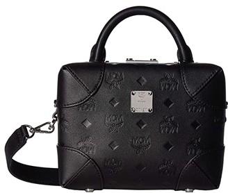 MCM Soft Berlin Monogram Leather Crossbody Small (Black) Handbags