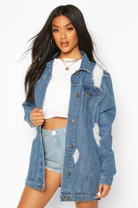 boohoo Distressed Longline jean jacket
